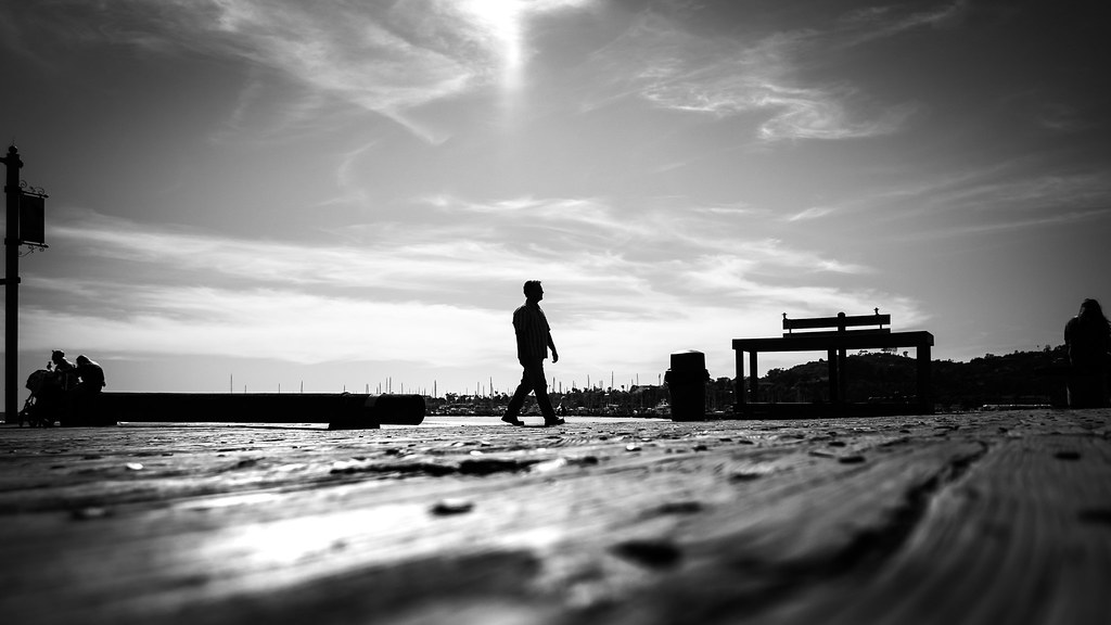 Alone, black and white street photography, Santa Barbara, California picture
