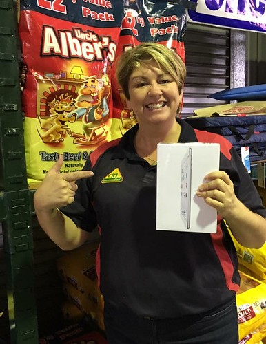 2nd - Rebecca Goldman from Goldman's Farm Pet Produce, Cessnock, NSW, pictured with their Apple iPad Mini.