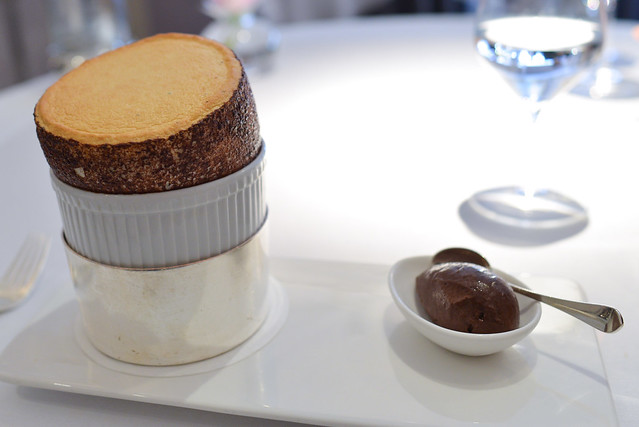 English peppermint soufflé with bitter chocolate sorbet