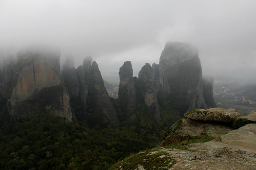mountain weather misty landscape outside outdoors view cloudy foggy hellas greece meteora thessaly mountscape