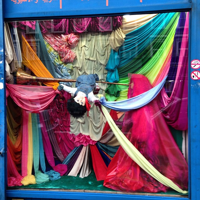 The fabric shops here have the best window displays 😂✂️