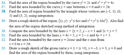 Class 12 Important Questions for Maths - Application of Integrals