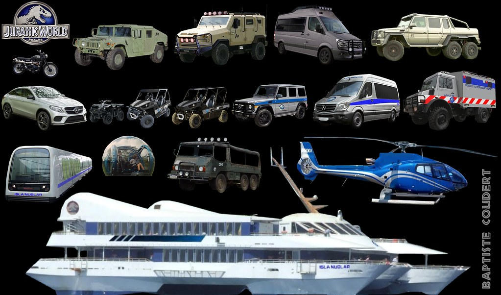 All Jurassic World 2015 (Jurassic Park 4) Vehicles Cars Off-Roaders 4X4 6X6 Buggy Van Monorail (Concept) Ferry Cruise Ship Helicopter Mercedes G500 GLE Coupe Sprinter Unimog Kawasaki Hum-vee (background: Nathan Schroeder) DEFINITIVE ASPECT