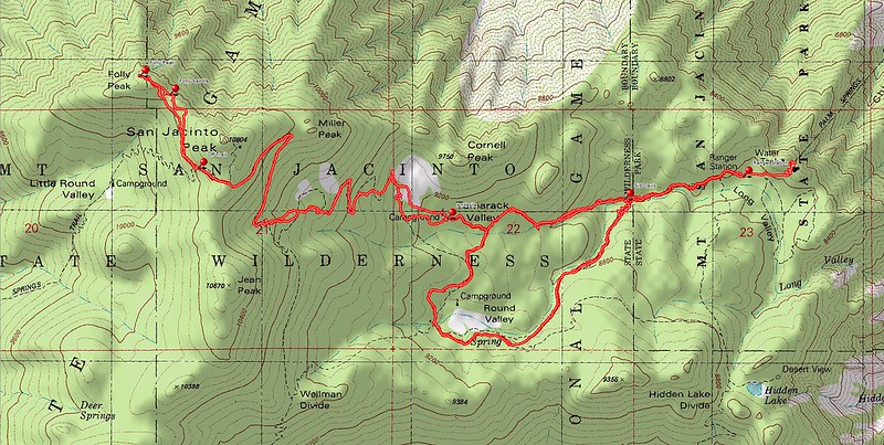 Delorme Topographic Map showing our GPS tracks.