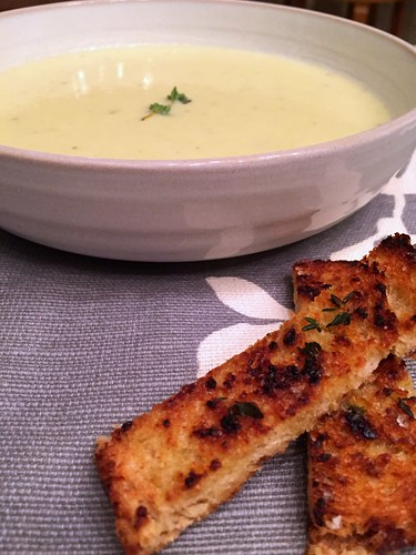 leek and potato soup Dorie Greenspan croutons