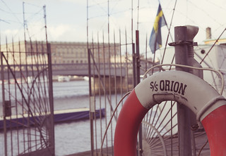 Image of  SS Orion. fence harbor sweden stockholm orion sverige bouy skeppsholmen lifering lifebouy stockholmcounty ssorion cgp1522b