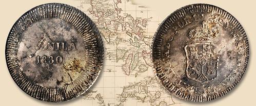 Philippines Manila Overstrike 8 Reales of 1830