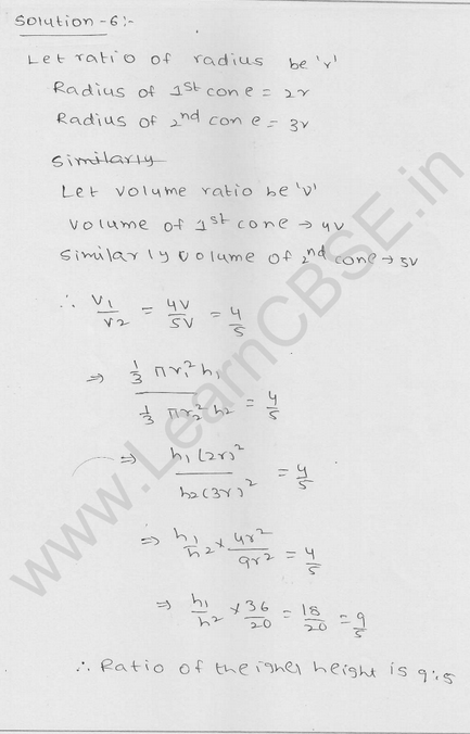 RD Sharma Class 9 solutions Chapter 20 Surface Area and volume of A Right Circular cone Ex 20.2 6