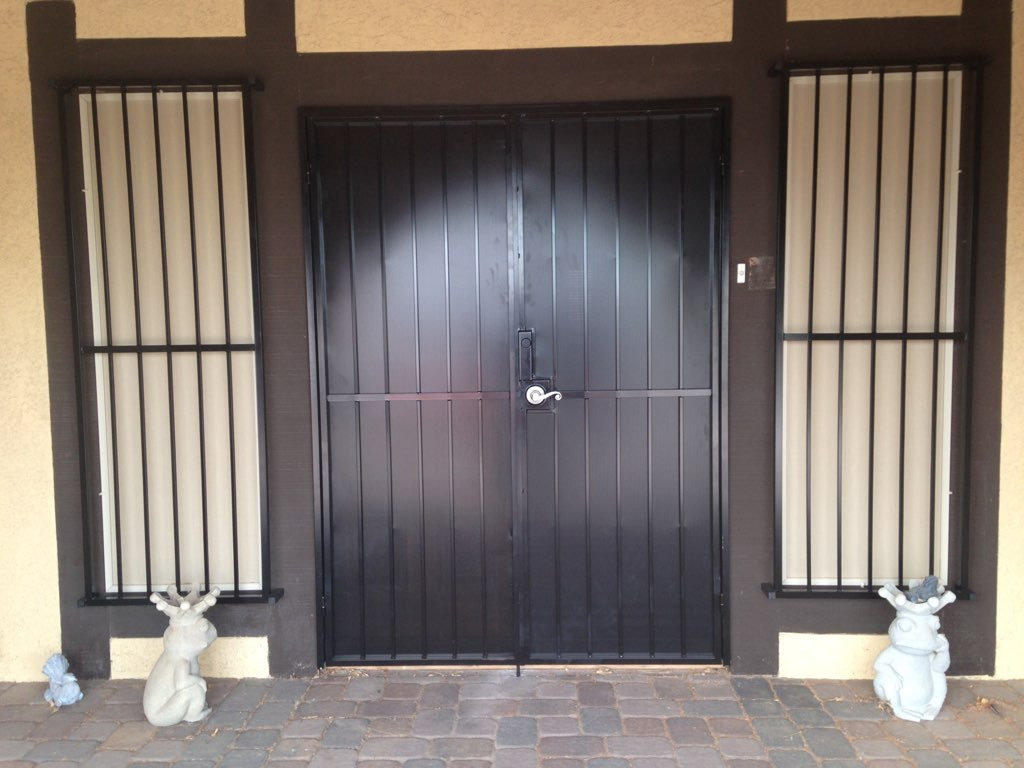 768 #8A6A41 French Security Door With Side Window Guards • View On Flickr save image Custom Made Security Doors 6871024