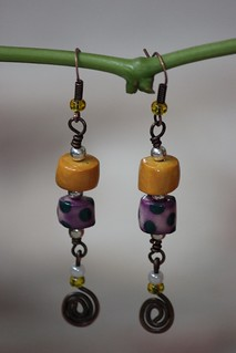 Gold, Purple and Blue Spotted Porcelain Drop Earring Set E - 0162