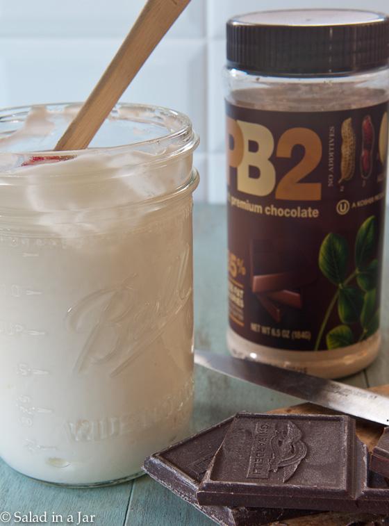 Peanut Butter Chocolate Greek Yogurt-a powdered peanut butter that mixes easily with yogurt