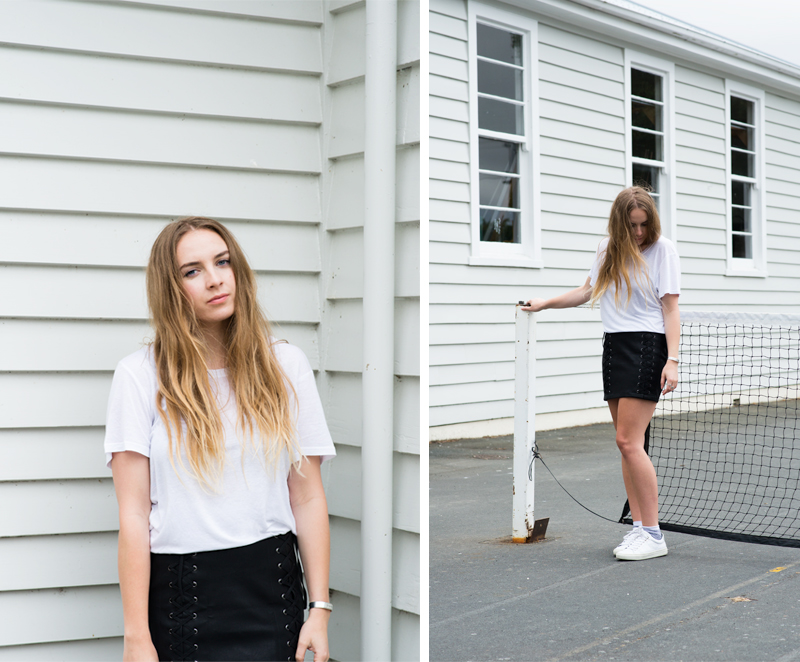 AS Color Tee, Stylestalker Leather Skirt, Topshop White Shoes, Bing Bang Cuff Bracelet