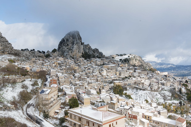 Caltabellotta under the snow. Sicily.