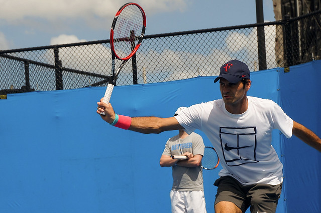 Roger Federer's backhand down the line