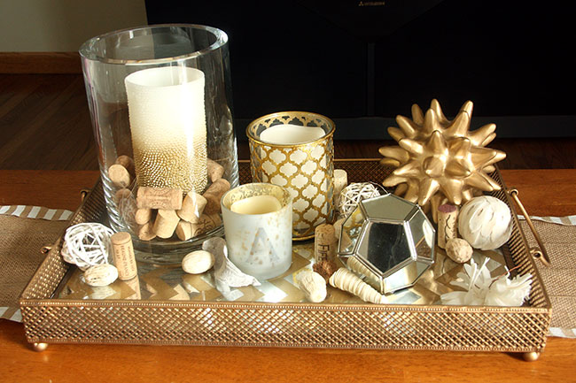 Coffee Table Decor for Everyday with Gold Mirror Tray