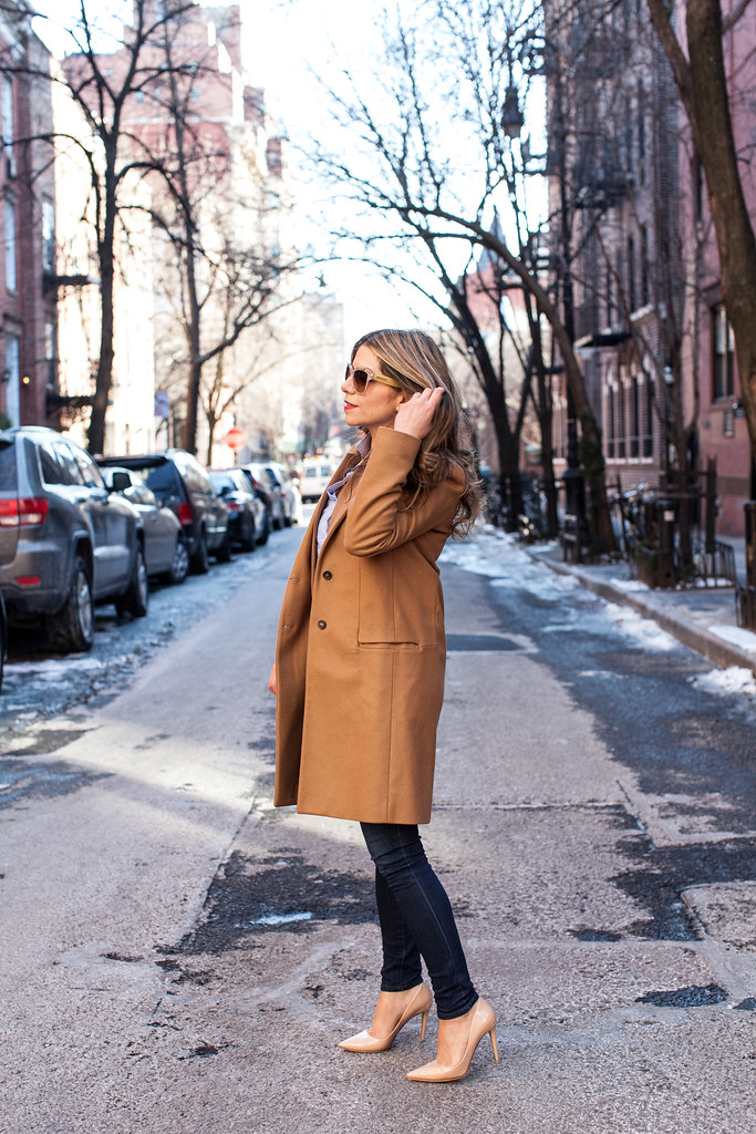 Zara Coat camel trench coat trendy coats winter coat asos trench coat J.Crew Regent Blazer camel blazer ann taylor striped shirt business outfit casual Friday outfit what to wear to work nude pumps DVF Bethany HeelsAG Adriano Goldschmied Legging Supper Skinny Denim dolce and gabbana lace gold sunglasses professional blogger what to wear to work corporate catwalk nyc fashion blogger