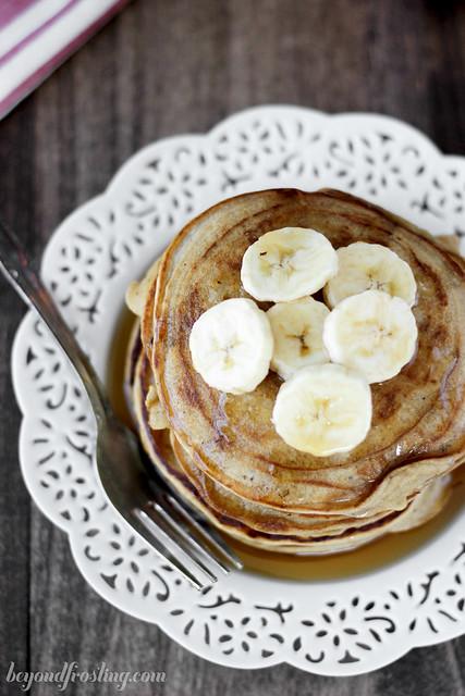 Healthier Peanut Butter Pancakes | beyondfrosting.com