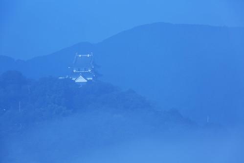 morning blue mist mountain japan fog landscape shikoku 日本 tradition tokushima 古城 朝 霧 徳島県 日和佐城 hiwasacastle