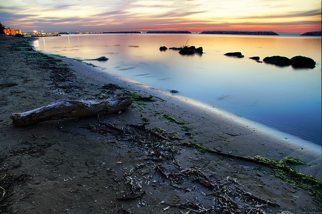 When the shore is enlightened by the last light of day