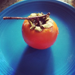 Ate my first persimmon today. I think it is prettier than it tastes. #persimmon #NorCal #fruit