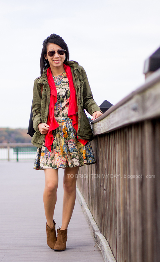 green military jacket, coral cascade cardigan, floral printed dress, brown suede ankle boots