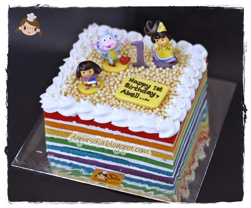 Rainbow Cake with Dora the Explorer Decor