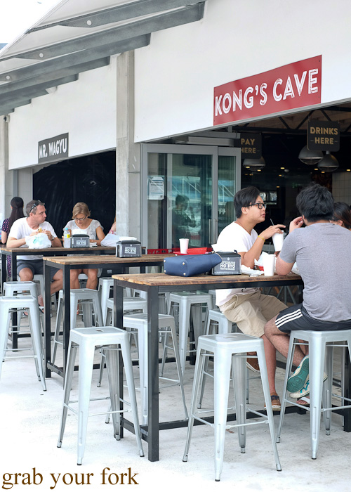 Outdoor seating at Kong's Cave at Vic's Meat Market at Sydney Fish Market, Pyrmont