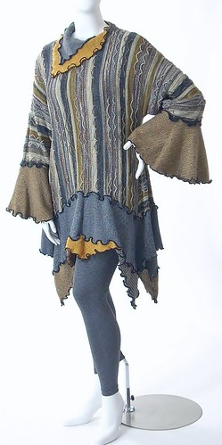 Upcycled Wool Sweater Knit Tunic/Dress, Size Large, Grey and Tan