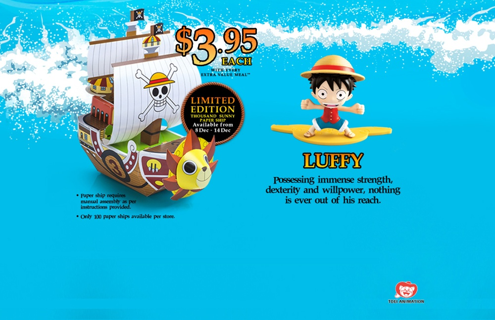 advertorial, anime, evm, extra value meals, figurines, japanese, manga, mcdonald's, one piece, toei animation, toys, 海贼王, singapore,thousand sunny,luffy