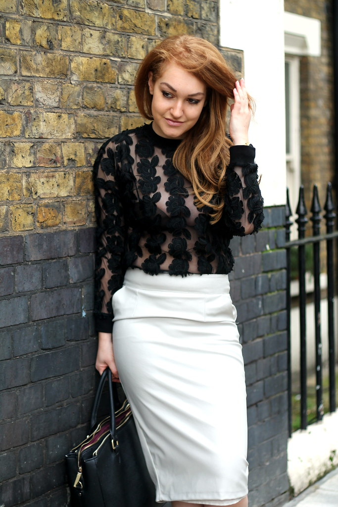 Black lace top and white pencil skirt (5)