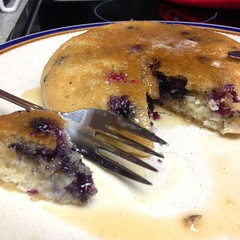 Closer shot of Blueberry Pancake Made in Rice Cooker