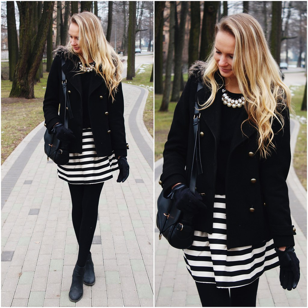 black-and-white-striped-a-line-skirt