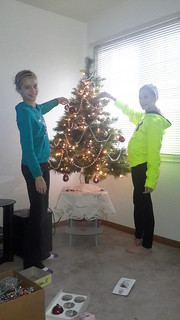 Natalie & Elizabeth decorating Mom/Nana's Christmas tree