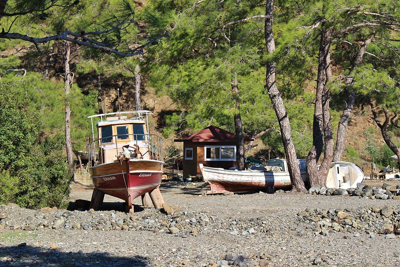 boats on beach near Kemer, Turkey