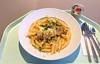 Salmon dices in spinach cream sauce / Lachswürfel in Spinat-Sahnesauce