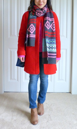 respect the shoes: Abstract Fair Isle in Red and Pink