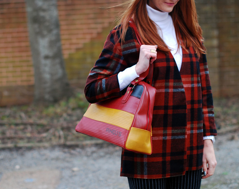 Winter style: Plaid and white roll neck