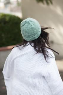 sage green beanie back