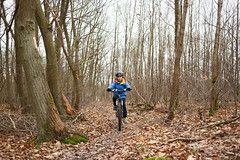 Levi mountain biking in the Bois d'Arcy