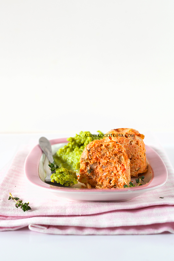Salmon Souffle with Green Peas Puree