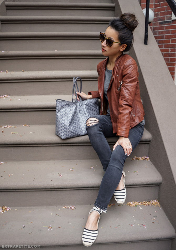 casual outfit moto jacket rag bone capri jeans soludos