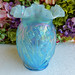 Fenton Art Glass Vase Daffodil Opalescent Iridescent Sky Blue
