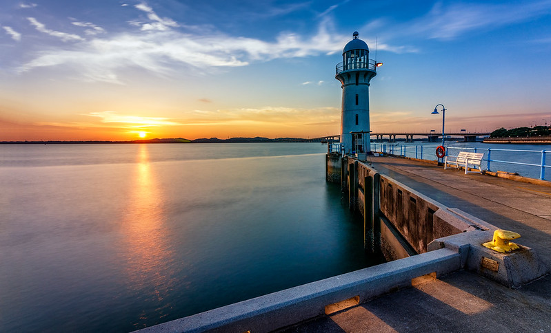Raffles Marina lighthouse sunset