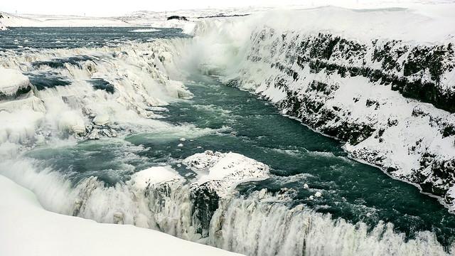 Gullfoss waterfall in semi-frozen motion