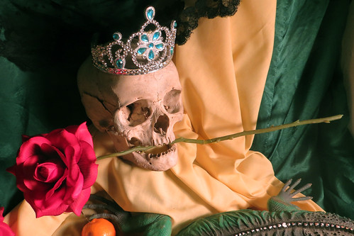 skull with rose and crown
