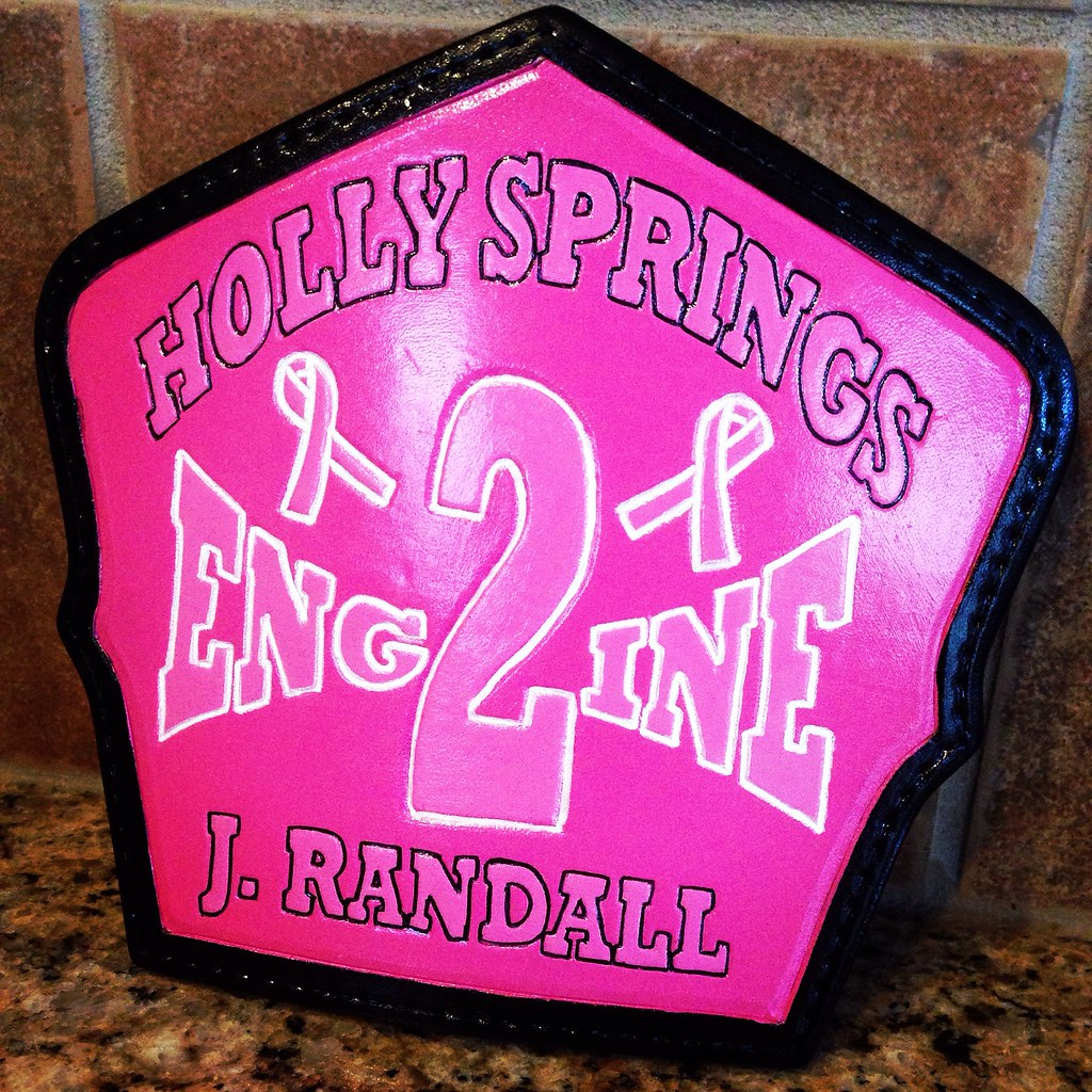 Breast cancer awareness custom fire helmet shield with black edges