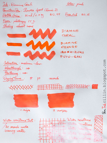 Diamine Coral on photocopy