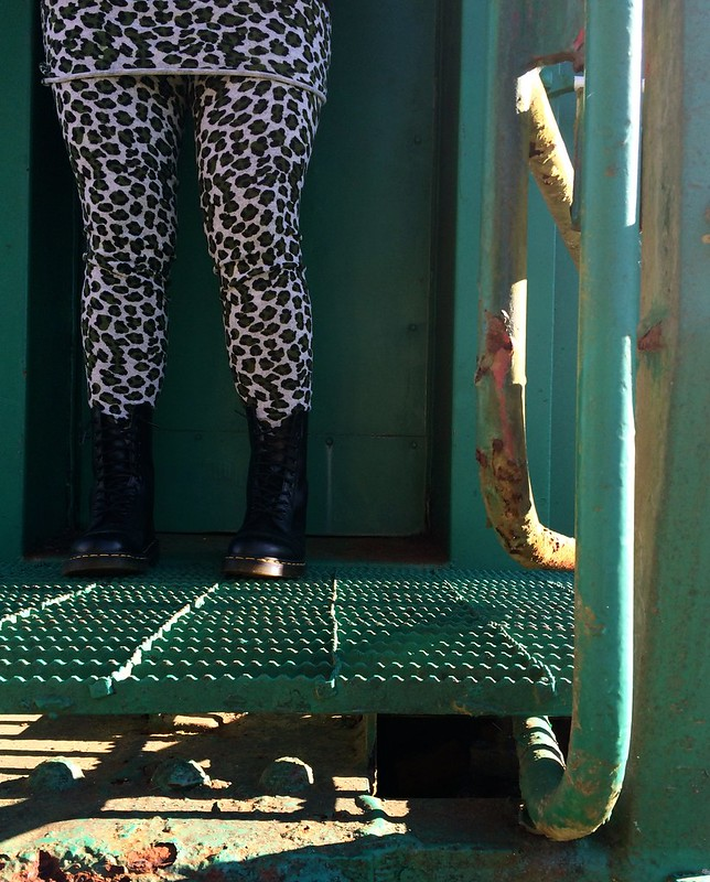 Green Leopard-Print Footed Tights