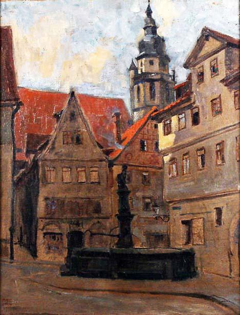Ernst Dorn, Idyllischer Altstadtwinkel mit Brunnen und Blick auf die Morizkirche, Coburg 1919