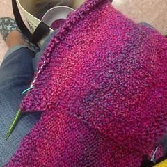 Waiting at speech. #knit #blanket #yarn #homespun #dreamz #needles